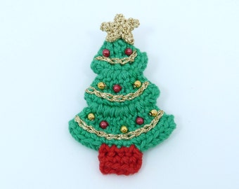 Large crochet Christmas brooch, Christmas tree.