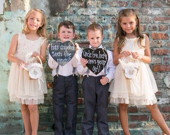 Chalkboard Style Heart Flower Girl Ring Bearer Has Anyone Seen The Rings Funny Rustic Wedding Sign - Personalize It!