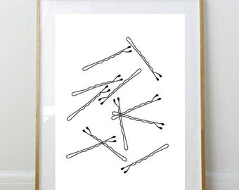 Bobby Pin Print // 8x10 Print // Art Print // Wall Decor // Home Decor // Bobby Pins // Girly // Bathroom Print // Bedroom Print //