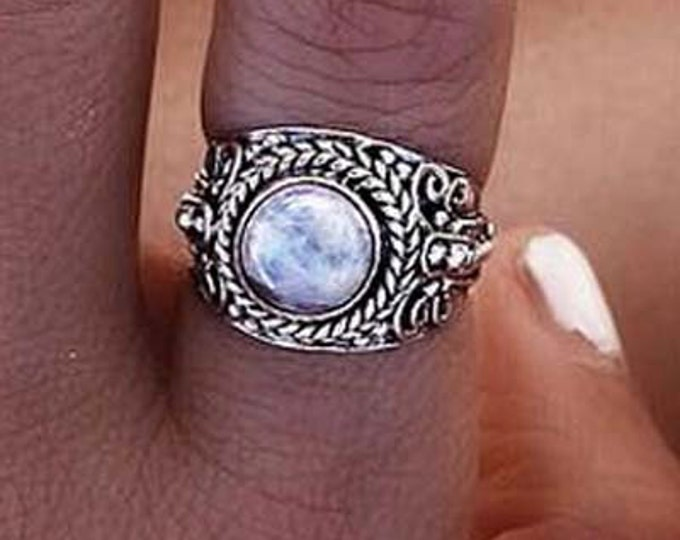 Silver Moonstone Ring, 925 Sterling Silver, Boho Rings, Bohemian Ring, Personalised Ring, Statement Ring