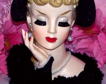 "Rita Hayworth Large 7"" Napco Napcoware Vintage 1959 Head vase Lady Headvase"