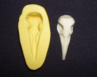 Flexible Mold RAVEN BIRD SKULL Cabochon Silicone Push Mold Safe for Crafts Food Clay Soap Resin