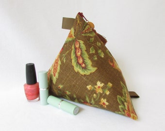 Large Makeup Bag. Red Gold Green Mustard Olive. Cosmetic Bag. Twist Design. Bridesmaid Gift. Stylized Floral Pattern.