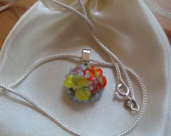 25% OFF SALE, Pendant Necklace, Floral Necklace, Flower Necklace, Lampwork Necklace, Orange Yellow, Halloween, Lampwork Pendant, Flowers