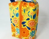 Bright Summer Flowers Large Zippered Box Tote - knitting / crochet / spinning project bag