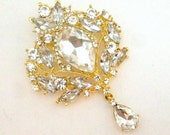 Extra Large Gold Rhinestone Flower Brooch Flat Back Embellishment Pin Clear Crystal Broach Dangling Wedding Brooch Bouquet DIY Gold Pin gc4