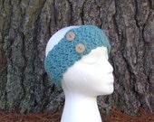 Women's Headbands- Ladies Head band -Earwarmers - Crocheted Headbands -Earmuffs--Head wrap- Headband with Buttons-Headbands for Women