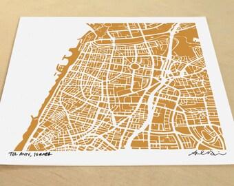 Tel Aviv Map, Hand-Drawn Map Print of Tel Aviv