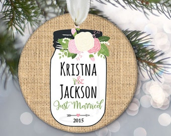 "Floral Mason Jar Personalized Christmas Ornament ""Just Engaged"" or ""Just Married"" Rustic Burlap Ornament Newlywed Gift Wedding Gift OR516"