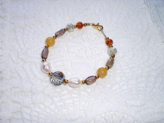 Beaded Bracelet Pearl Bracelet Brown Bracelet Layering Bracelet Gemstone Bracelet Quartz Bracelet Charm Bracelet Gift for Her Free Shipping
