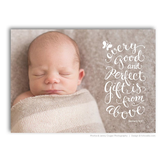 Bible Baby Quotes: Birth Announcement Card Bible Verse Christian Themed