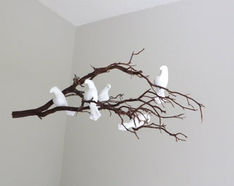 Bird Mobile - White Linen Birds  on One Natural Branch - Made to order