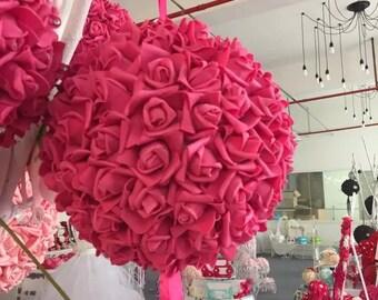 Fuchsia Kissing Ball Foam Flowers Pomanders 9 inch For Wedding Centerpieces Decor Bridal Shower Fushcia Flower Ball NJHQ-11