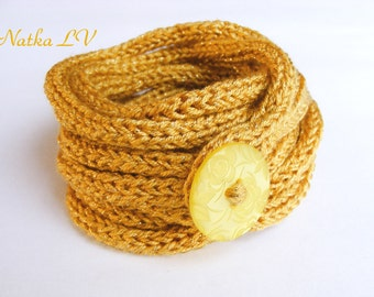 Knitted bracelet with button, women's or girl's cord bracelet, girl's jewelry, i cord accessory, wrap, lariat, knit necklace, gold yellow