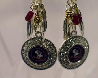 FSU Earrings, FSU Seminole Earrings, Seminole Earrings, Florida State Logo Earrings, FSU Chandelier Earrings, Florida State Jewelry