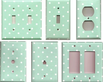Teal/Aqua Blue Green with Small White Polka Dots Light Switch Plates and Wall Outlet Covers Home Decor Accents