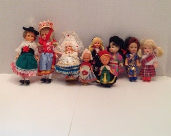 "9   Dolls in  Costumes 4"" to 6"" Vintage from 1960s or earlier"
