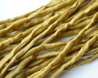 Gold Silk Cord hand dyed golden silk string for necklace bracelets 2mm