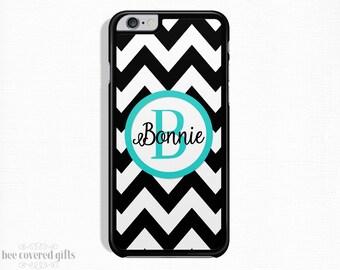 iPhone 6s Case, iPhone 6 Plus Case, iPhone 5s Case, iPhone 5c Case, Black Chevron, Monogram Gift (374)