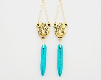 Rosary Inspired Earrings, Turquoise Howlite: Blue & White Horns, Earrings