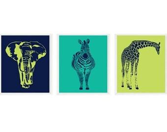Animal Nursery Art, Baby Boy Nursery, Elephant, Giraffe, Zebra, Teal Lime Navy, Safari Nursery , Safari Animals, Baby Nursery, Baby Gift