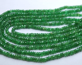 15 Inch Strand,Finest Quality,Natural Tsavorite Green Garnet Micro Faceted Rondells,3-3.5mm size