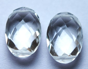 3 Matched Pair,Finest Quality,Double Drilled Rock Crystal Quartz Faceted Oval Shaped Briolettes,8x12mm