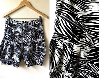 Summer Sale: black and white zebra print high waist bloomers (28 inches), printed high waisted shorts