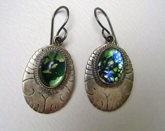 vintage mexican foil glass earrings