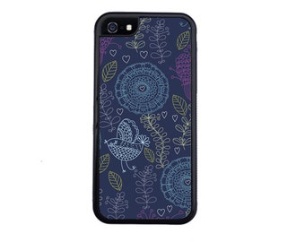 Floral Nightingale Inspired Case Design For iPhone 4/4s, 5/5s, 5c, 6/6s, 6/6s Plus, 7 or 7 Plus.
