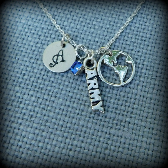 Sterling silver Army necklace, military jewelry, world necklace, mom necklace, girlfriend jewelry, Army wife