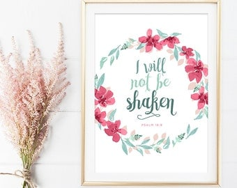 Psalm 16:8 - Bible Verse Wall Art - Psalms Print - Encouraging Wall Quote - Scripture Print - Home Decor - Typographic Print - Floral Art
