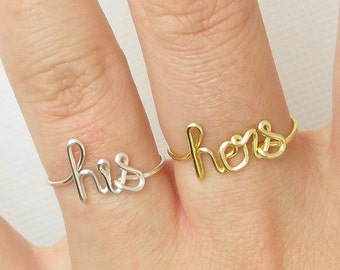 HIS and HERS Rings-Wire Word Ring-His Ring-Hers Ring-Couple Ring-Gift For His and her