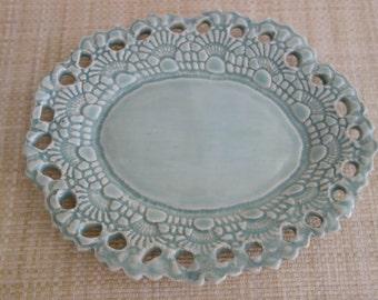 Lacy Celadon Pottery Dish