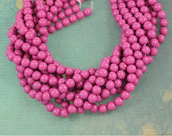 Berry Magenta Smooth Glass 10mm Rounds - Vibrant Color - Full 16 inch Strand