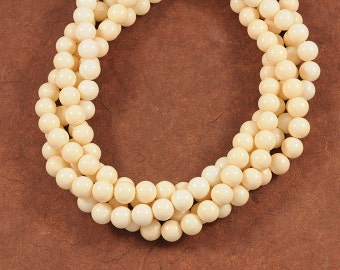 Light Cream Beige Smooth Glass 10mm Rounds - Soft Neutral Color - Full 16 inch Strand