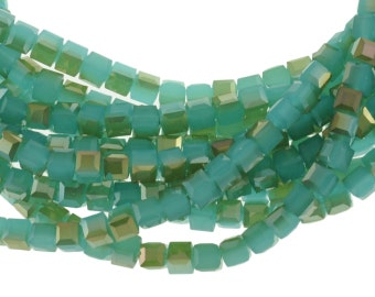 "6mm Opal Sea Green Crystal Cubes with a Bronze Luster Finish - Full 16"" Strand - About 61 Beads"