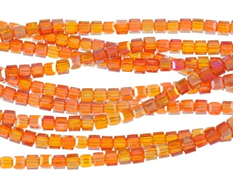 "4mm Firey Red & Orange Mottled Transparent Crtsyal Cubes - Full 16"" Strand - About 85 Beads"