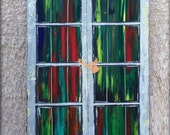 Green painting- Vintage Door Painting Rustic canvas painting modern wall art Acrylic painting Abstract door painting on canvas by Sami