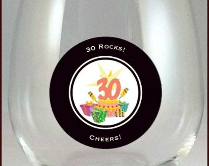 30th Birthday Party Glass Decals, 10 Pack - Glass Not Included