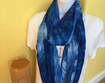Tye dye scarf, Hand dyed infinity scarf, Rayon infinity scarf, Tie dyed infinity scarf, Blue hand dyed scarf