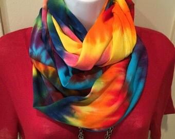LGBT pride infinity scarf, gay lesbian pride, hand dyed infinity scarf, tie dyed infinity scarf, rayon scarf