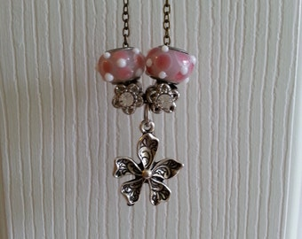 Pretty in Pink Flower Charm Necklace  // Flower Power  // Gifts under 10 dollars // Charming Flower Necklace  // Bronze Chain Charm Necklace