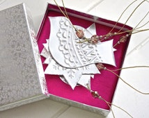 x6 Silver Holiday Decorations, Embossed Metal Ornaments, Christmas Tree Decor, Gift Box Set, Indian patterns