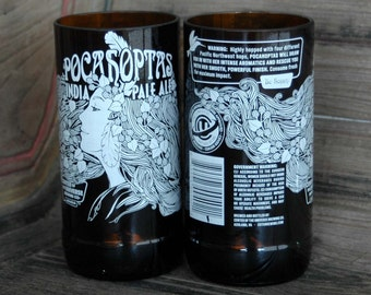 Pocahoptas Recycled Beer Bottle Glasses- Set of 2