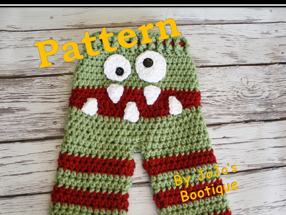 PATTERN Crochet Monster Baby Pants PATTERN Baby Monster