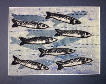 Fish monoprint applique