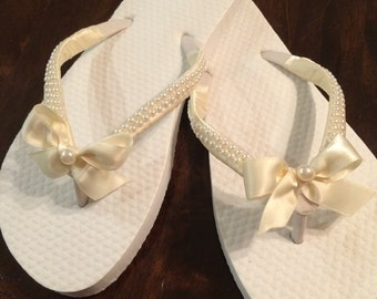 Flower girl white  flip flops satin with pearl straps wedding day flipflops bridal flipflops