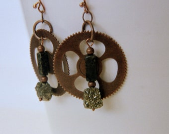 Steampunk pyrite and copper earrings.