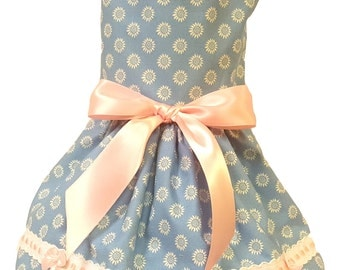 Dog Dress, Dog Clothing, Dog Wedding Dress, Pet Clothing, Pet Dress - Blue Sunflowers